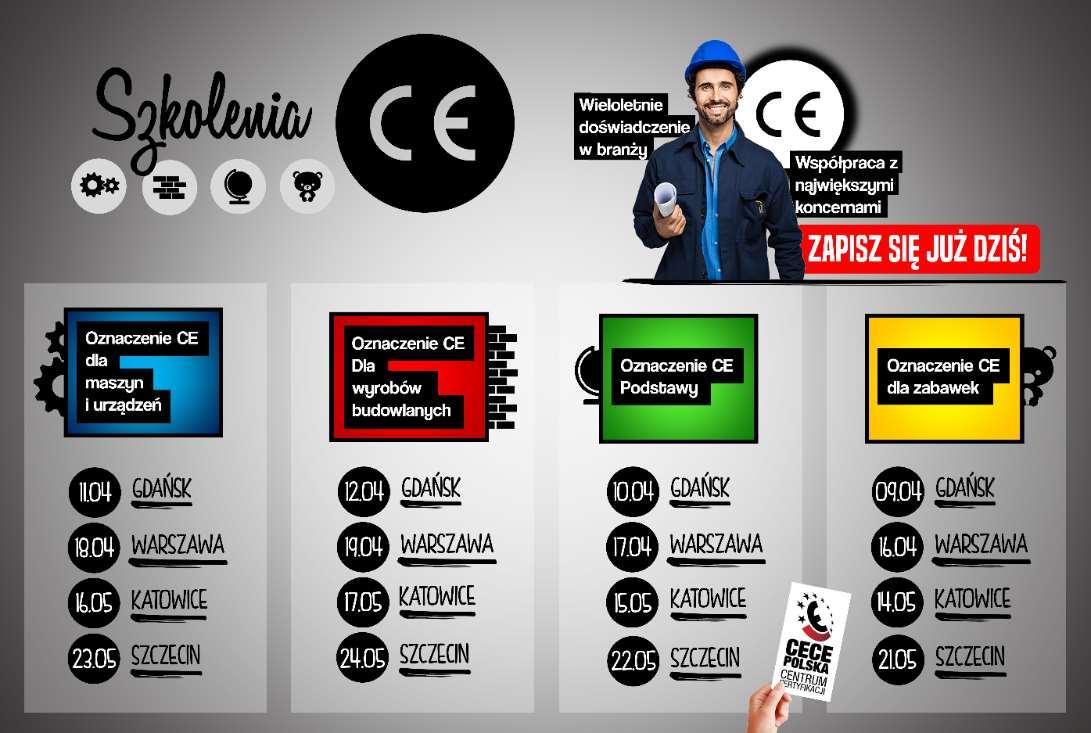 Szkolenia znak CE - kwiecień 2019 Gdańsk i Warszawa