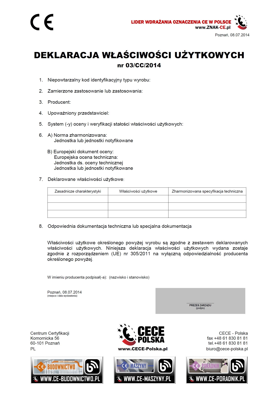 DOP - Deklaracja Właściwości Użytkowych